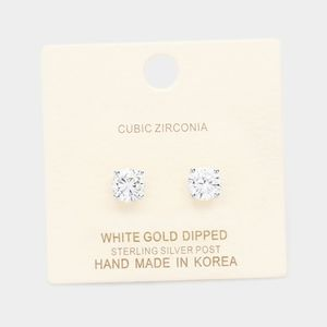 White Gold Dipped 7mm Cubic zirconia Round Stud